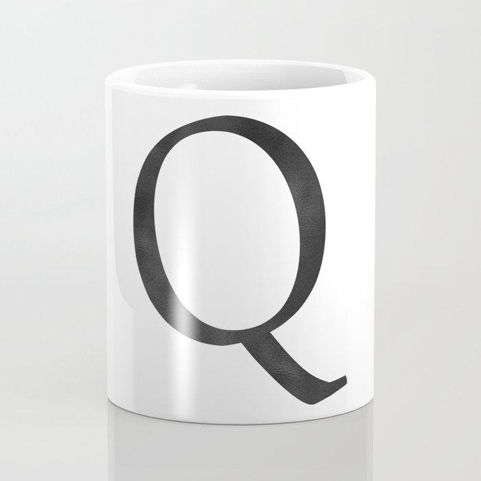 Letter Q Initial Monogram Black and White Coffee Mug