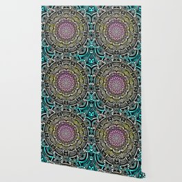 DETAILED CHARCOAL MANDALA (BLACK AND WHITE) WITH COLOR (PINK YELLOW TEAL) Wallpaper