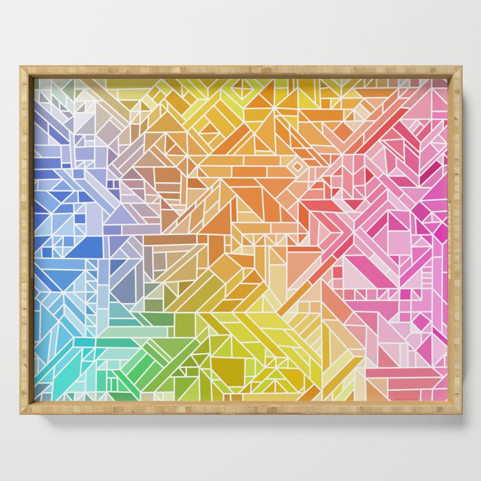 Bright Gradient (Hot Pink Orange Green Yellow Blue) Geometric Pattern Print Serving Tray