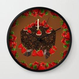 CHOCOLATE & STRAWBERRIES  BIRTHDAY CAKE Wall Clock