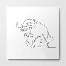 African Buffalo Continuous Line Metal Print