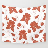 vintage floral Wall Tapestries featuring Vintage Floral by She's That Wallflower