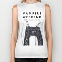 vampire weekend Biker Tanks featuring Vampire Weekend / George Washington Bridge by Harold's Visuals