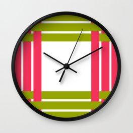 The intertwining pink and green ribbons Wall Clock