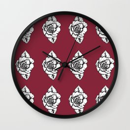 Ink Pen Rose Print Wall Clock
