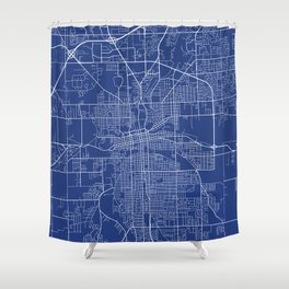 Fort Wayne Map, USA - Blue Shower Curtain