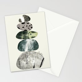 Stacked Pebbles On The Beach Stationery Cards