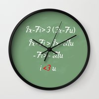 math Wall Clocks featuring Math love by DiegoC