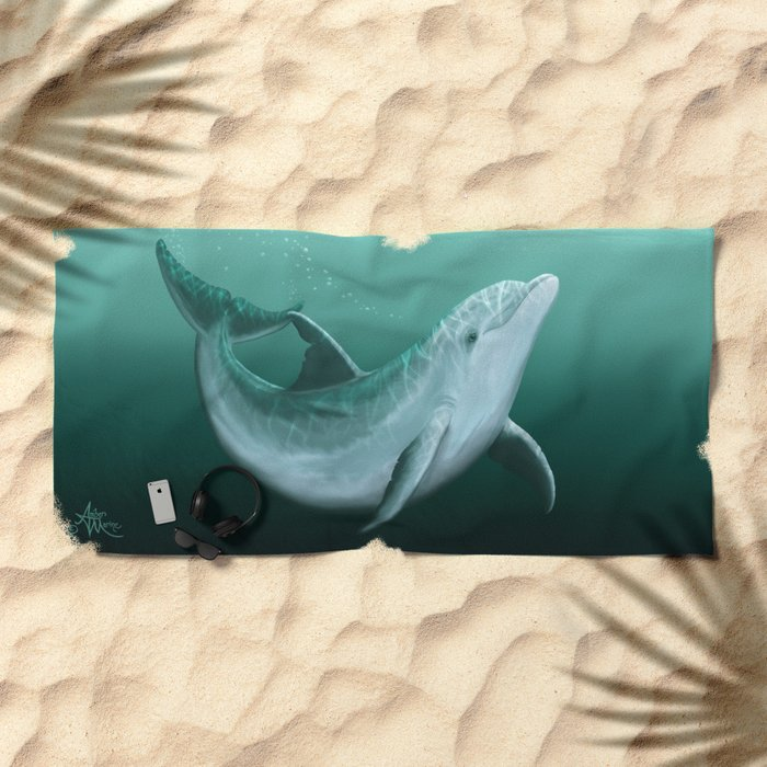 """Riversoul"" by Amber Marine ~ Indian River Lagoon bottlenose dolphin art, (Copyright 2014) Beach Towel"