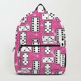 Domino Pieces Dominoes Board Game Pink Glitter  Backpack