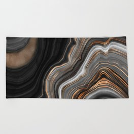 Elegant black marble with gold and copper veins Beach Towel