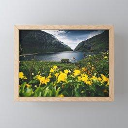 Cabin in Saksun - Faroe Islands Framed Mini Art Print
