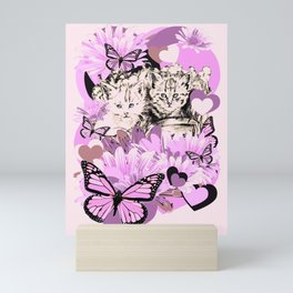 Frieda's Baby Cats in Pink Mini Art Print