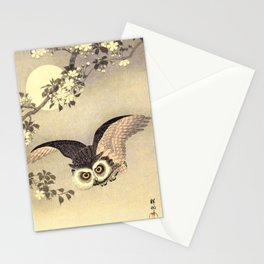 Koson Ohara - Scops Owl in Flight, Cherry Blossoms and Full Moon - Japanese Vintage Woodblock Stationery Cards
