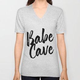 Babe Cave Bold Script Unisex V-Neck