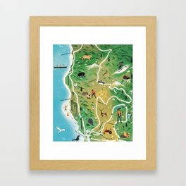 Northern California Map Vintage Handrawn illustration Framed Art Print