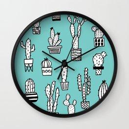 Cactus in pots cian version Wall Clock