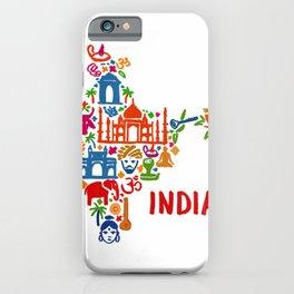 India Elephant Map Silhouette Taj Mahal T-Shirt iPhone Case