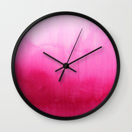 Modern fuchsia watercolor paint brushtrokes Wall Clock