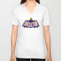 skeletor V-neck T-shirts featuring Skeletor cloak by Buby87
