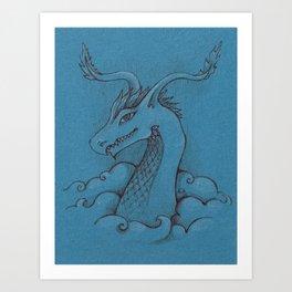 Dragon on blue Art Print