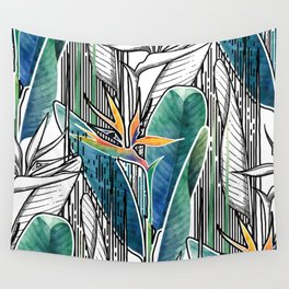 Combined strelitzia pattern Wall Tapestry