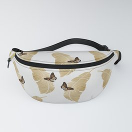Butterfly & Palm Leaf, Gold Wall Art Fanny Pack