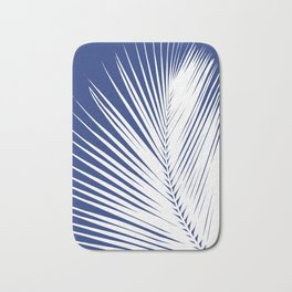 Palm Leaf Silhouette, Navy Blue and White Bath Mat