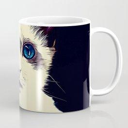 cute cat blue eyes vector art foggy night Coffee Mug