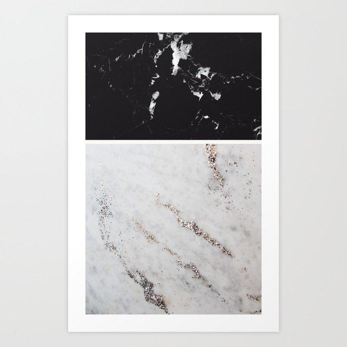 Black marble white glitter marble 1 decor art society6 art print