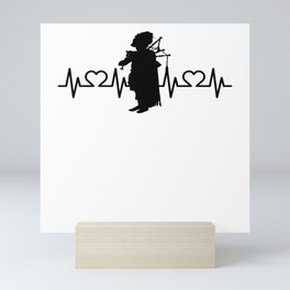 Heartbeat Heart Pulse ECG Bagepiper I Bagpipe Mini Art Print