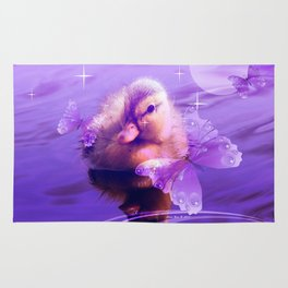 Baby Duck And Butterflies By Annie Zeno Rug