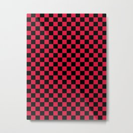 Black and Crimson Red Checkerboard Metal Print