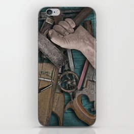 vintage tools on a table @ woodworking shop iPhone Skin