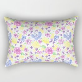 Butterflies With Roses and Flowers Hand Painted In Watercolors and Gouche Rectangular Pillow