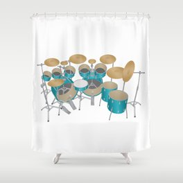 Green Drum Kit Shower Curtain