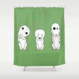 Three wise Kodamas Shower Curtain