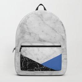 Geometric White Marble - Black Granite & Blue #509 Backpack