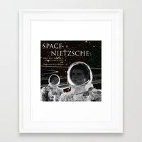 nietzsche Framed Art Prints featuring Space Nietzsche by Red Barchetta