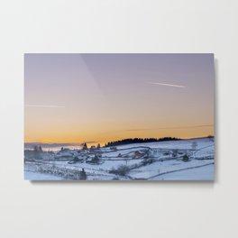 Winter landscape, sunset, village Metal Print