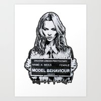 kate moss Art Prints featuring Kate Moss by Merlin Dobaryan