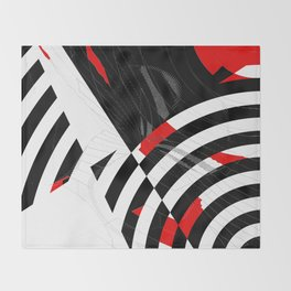 black and white meets red Version 8 Throw Blanket