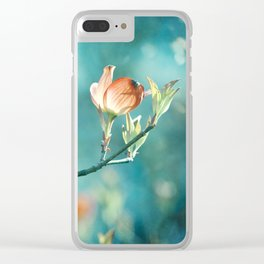Teal Orange Floral Photography, Turquoise Dogwood Flower Art, Aqua Coral Nature Clear iPhone Case