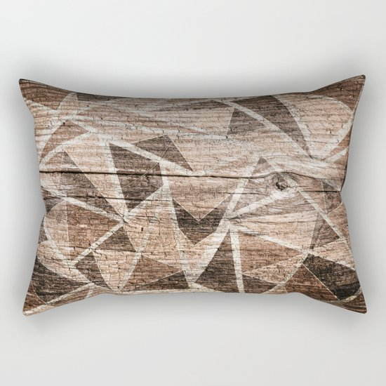 Old wood . Brown triangles . Rectangular Pillow