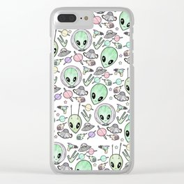 Alien and UFO pattern Clear iPhone Case
