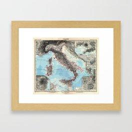 Vintage Map of Italy (1891) Framed Art Print