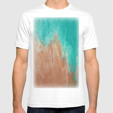 Ocean and Sand Abstract MEDIUM White Mens Fitted Tee