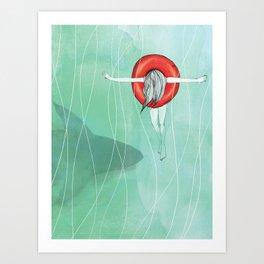 Shark in a pool Art Print