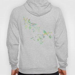 Birds on Branches Love Bird Couple Vintage Floral Pattern Green Yellow Blue Hoody