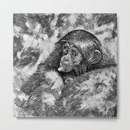 AnimalArtBW_Chimpanzee_20170604_by_JAMColorsSpecial Metal Print